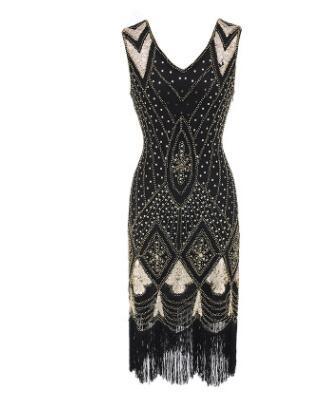e75e89ec937bb Women 1920s Gatsby Charleston Inspired Sequin Fringe Flapper Dress Beaded  Art Deco Dress V-Neck Sleeveless Long Party Costume
