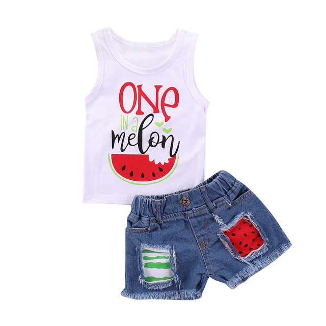 ae8134acc Fashion New Toddler Kids Baby Girl Sleeveless Watermelon Vest Tops+Ripped  Denim Shorts Jeans 2PCS Outfits Summer Clothes Set