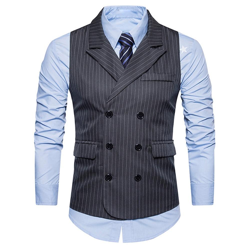 2912927debc Men Business waistcoat Suit Vests Gentlemen gilet Mens Double Breasted Shawl  Collar Stripe Formale Vest slim fit chaleco hombre