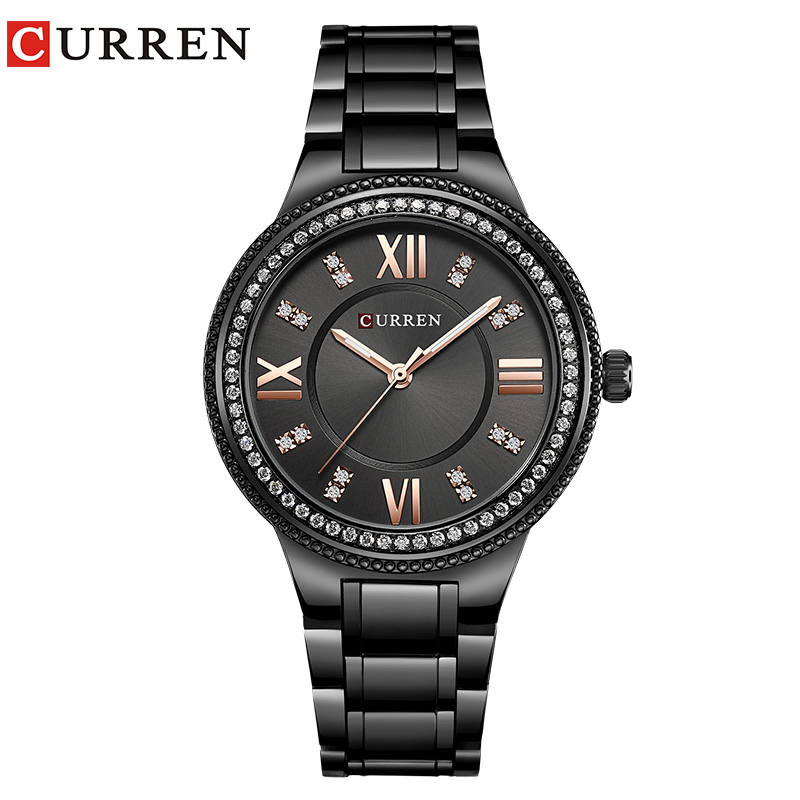 CURREN Fashion Rhinestone Quartz Waterproof Watch Women Wristwatch Dress Fashion Watch Steel Ladies Clock Reloj Mujer