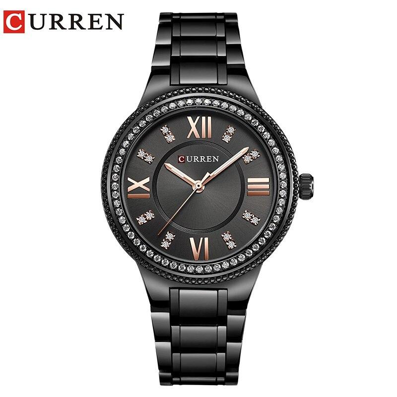 CURREN Fashion Rhinestone Quartz Waterproof Watch Women Wristwatch Dress Fashion Watch Steel Ladies Clock Reloj Mujer