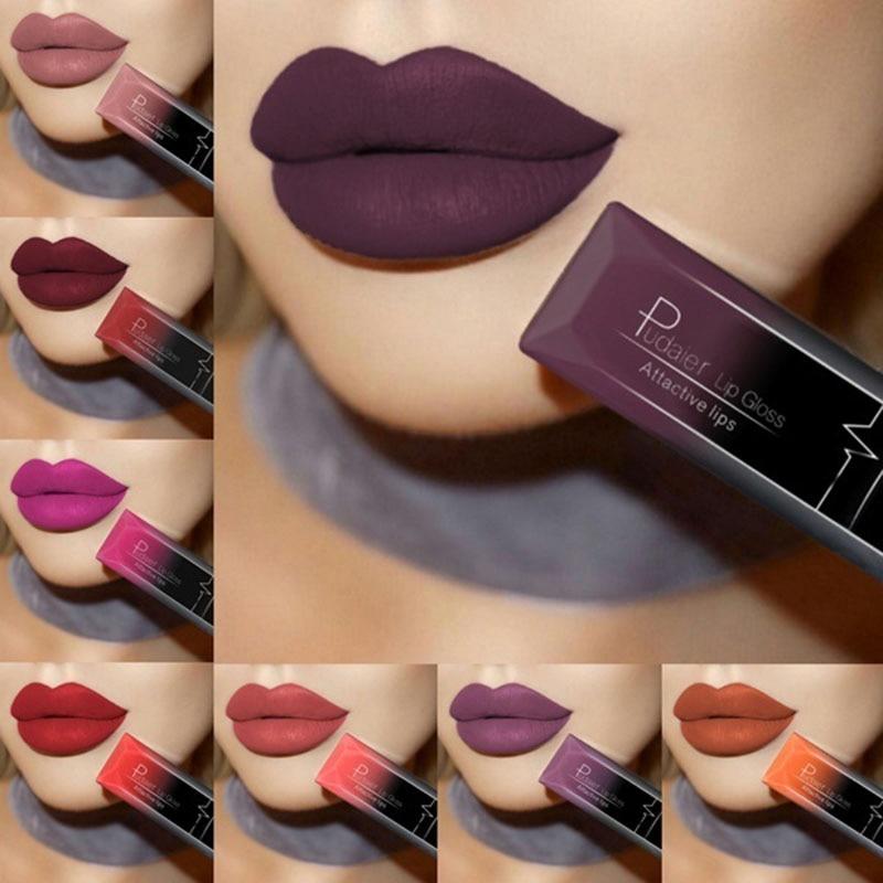 Pudaier 21 Colors Waterproof Nude Matte Velvet Glossy Lip Gloss Lipstick Lip Balm Sexy Red Lip Tint