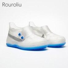Rouroliu Men Women Fashion Comfortable Non-Slip Hard-Wearing Rain Shoes Covers Thick Bottom PVC Waterproof Overshoes RB246