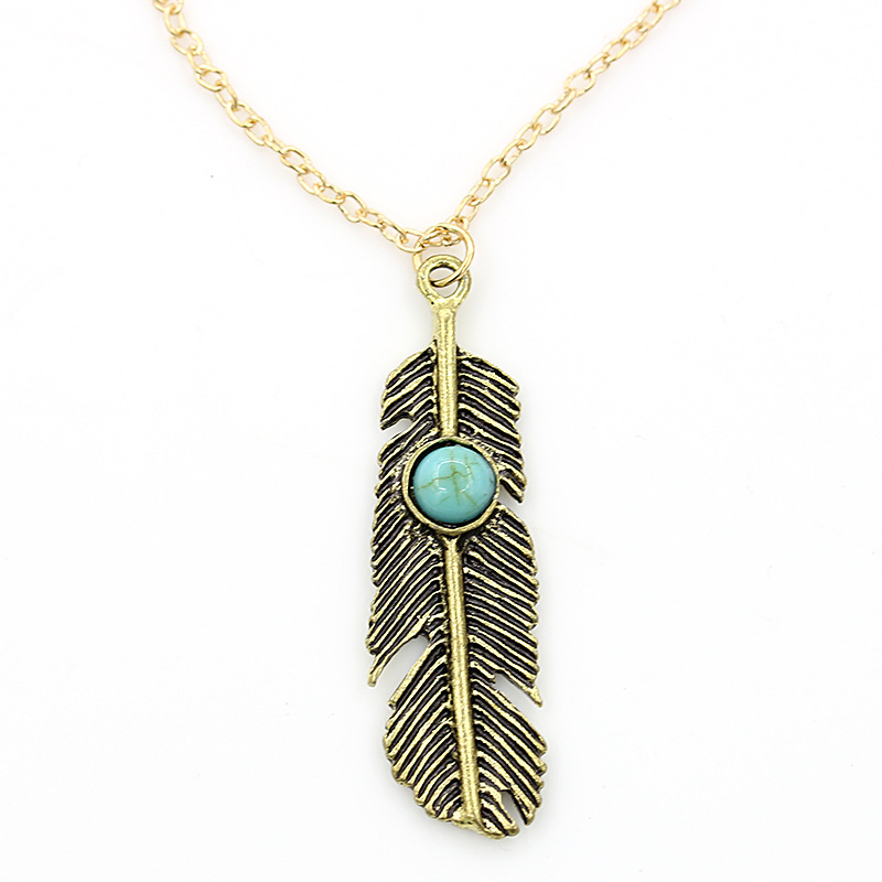 Beads Necklaces Gold Link Chain Feather Leaf Pendant Long Tassel Statement Charm Women Jewelry Ethnic Choker