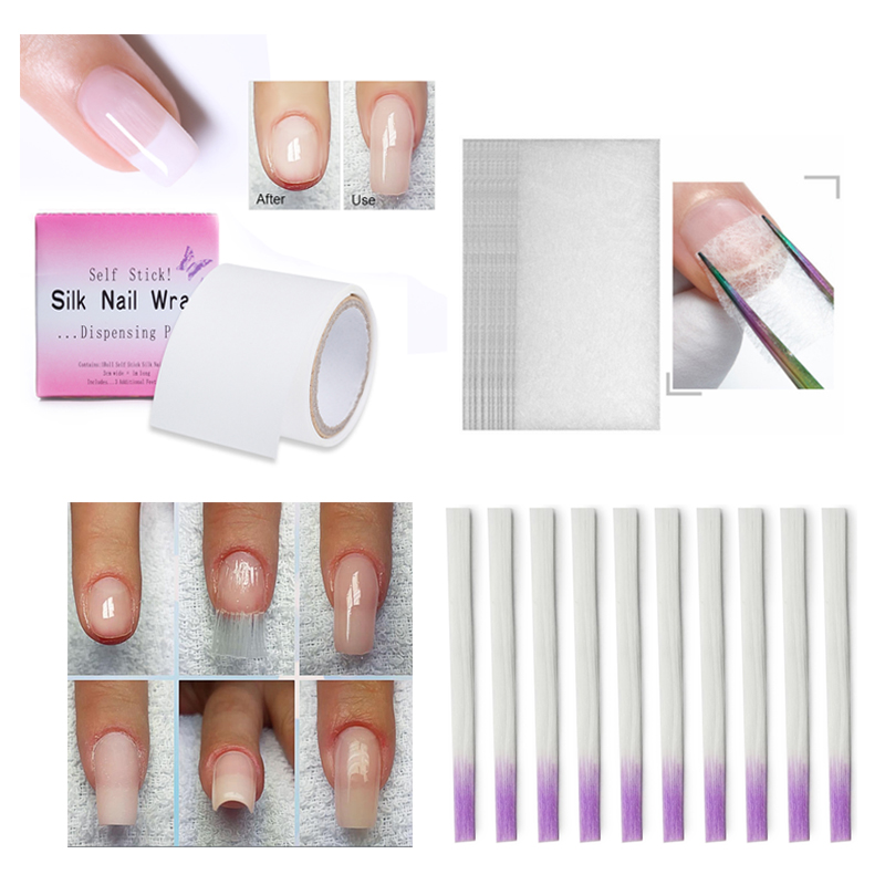 Nail Extension Fiber Building Acrylic Tips Nail Quick Extension DIY White Fiberglass With Scraper Mixed Size Nails Tool