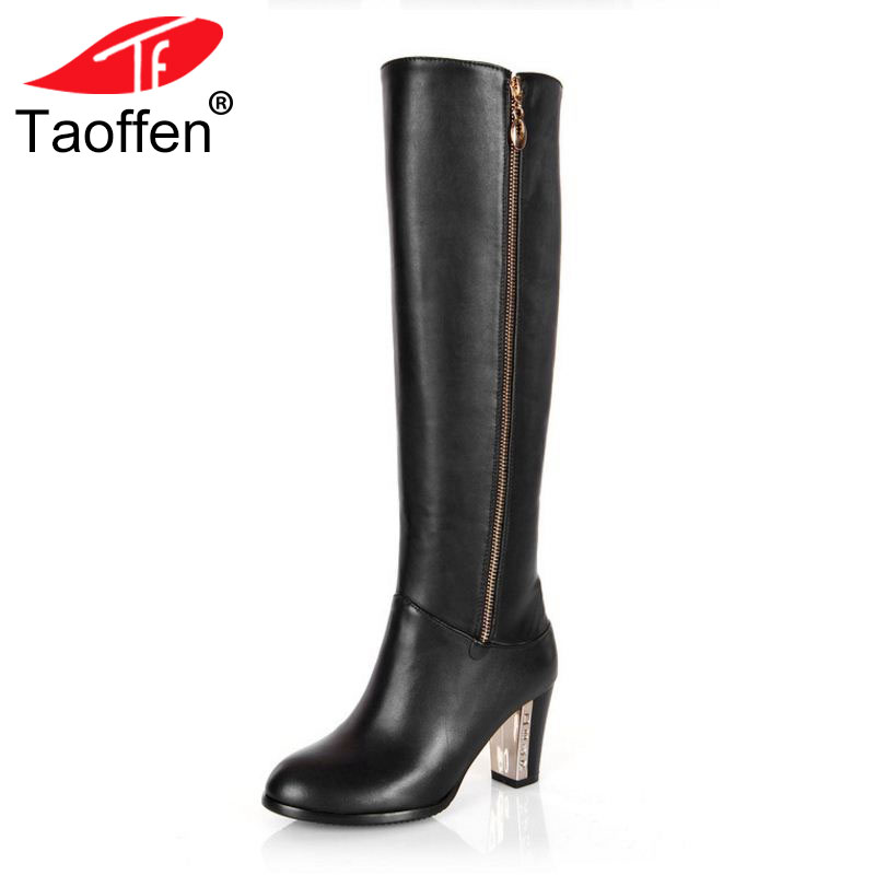 купить Women Genuine Real Leather Knee Boots Winter Snow Boots Sexy High Heel Fashion Zipper Women Riding Boots Shoes Plus Size 30-45 по цене 4004.37 рублей