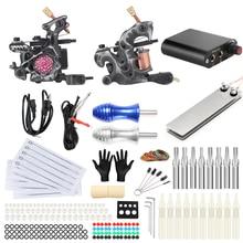 цена на Professional Tattoo Kits Complete Set 2 Tattoo Machine Gun Tattoo Power Needles for Tattoo Supply TK201-29