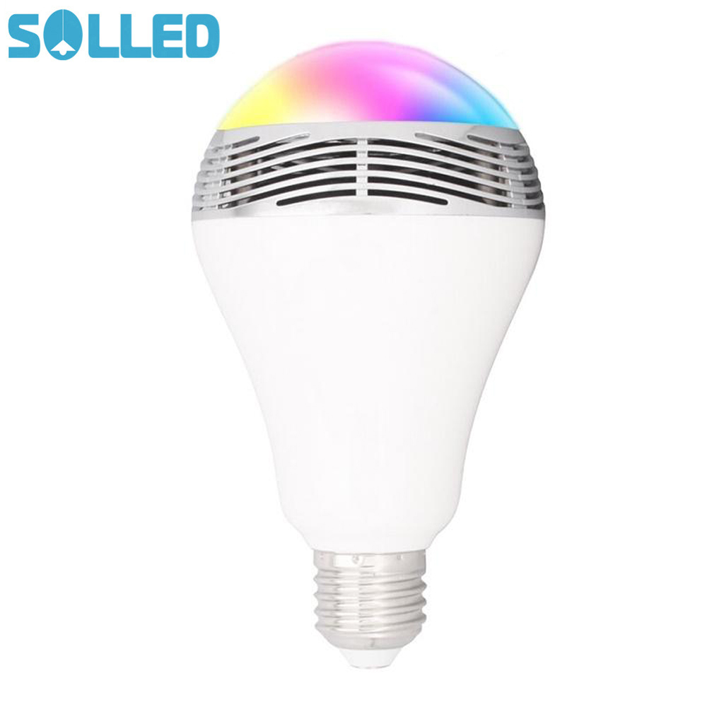 SOLLED LED Wireless Bluetooth RGB Speakers Light Bulb Music Playing Color Changing Lamps with Remote Control smart bulb e27 led rgb light wireless music led lamp bluetooth color changing bulb app control android ios smartphone