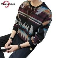 2017 Autumn Winter New Striped Sweater Men Wool Cotton Knitted Mens Pullover Sweater Winter Coat Male