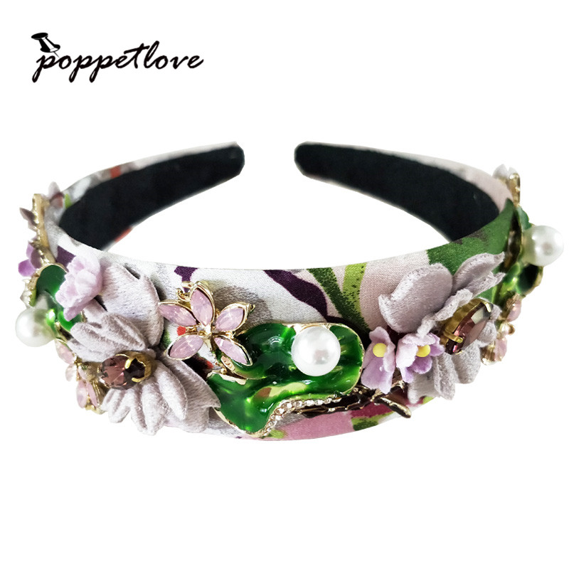 Fashion Cute Gril Crystal Tiara Hairbands For Party Headdress Purple Butterfly Girls Bea ...