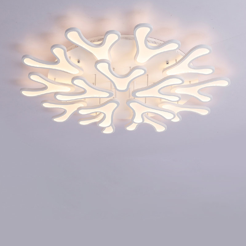 White Antlers Acrylic Led Lamp Modern Lustre Chandeliers Lighting With Remote Control Living Room Bed Foyer Decor Home Fixtures