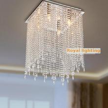 Cocina 16 «lámpara de cristal cuadrada llevó la luz de techo comedor largo hogar iluminación Luces Llevaron Para Casas gran porche lámpara e14 Bar