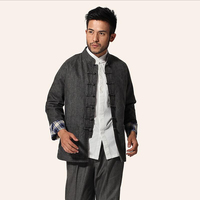 Dark Gray Chinese Male Kung Fu Jacket Men Linen Cotton Coat Traditional Mandarin Collar Tang Suit Top M L XL XXL XXXL MJ050