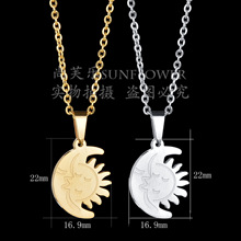 Eleple Cute Smiling Moon Star Stainless Steel Necklaces for Men Women Fashion Party Gifts Jewelry Wholesale Manufacturers S-N90