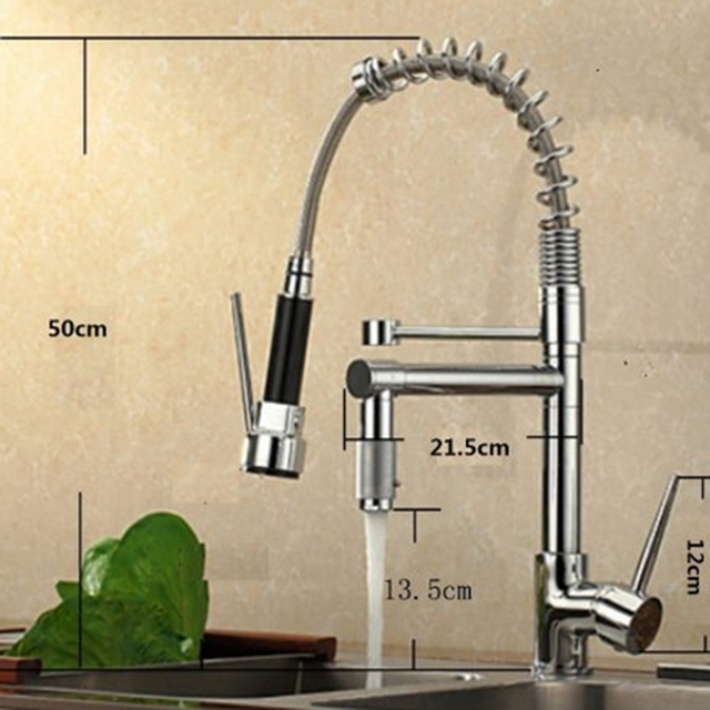 Uythner Chrome Brass Basin Kitchen Faucet Vessel Sink Mixer Tap Spring Dual Swivel Spouts Sink Mixer Bathroom Faucets Hot Cold