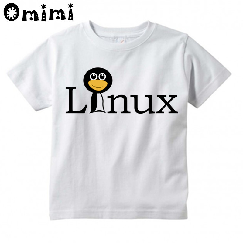 Boys/Girls The LINUX Penguin In A Computer Printed T Shirt Kids Short Sleeve Tops Childrens White T-Shirt
