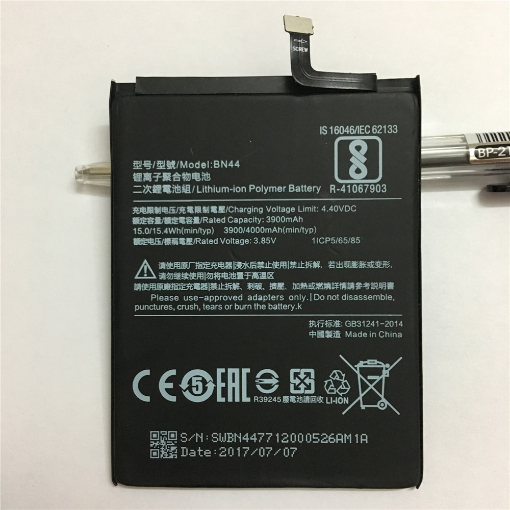 100% New Original Real 4000mAh BN44 Battery With glue sticker For Xiaomi Redmi 5 plus 5. ...