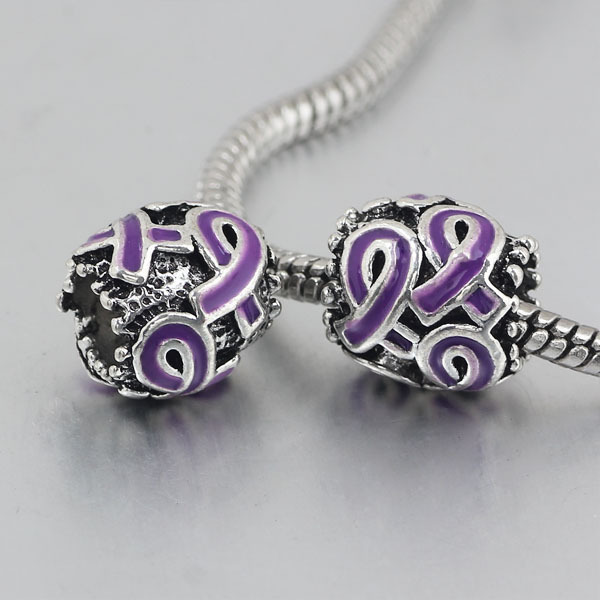 Free Shipping 1pc Purple Ribbon Hole Bead Charms Fits European Pandora Charm Bracelets Necklaces A135 In Beads From Jewelry Accessories On