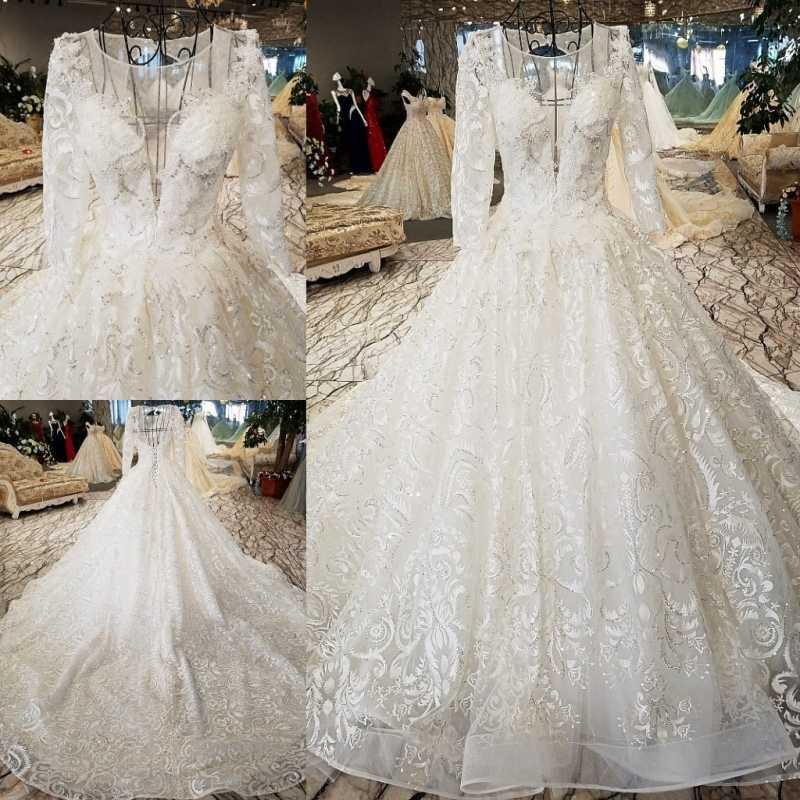 LS56411 lace Wedding Dresses o-neck lace up open back three quarters sleeve ball gown Wedding Gown vestidos de matrimonio 2019
