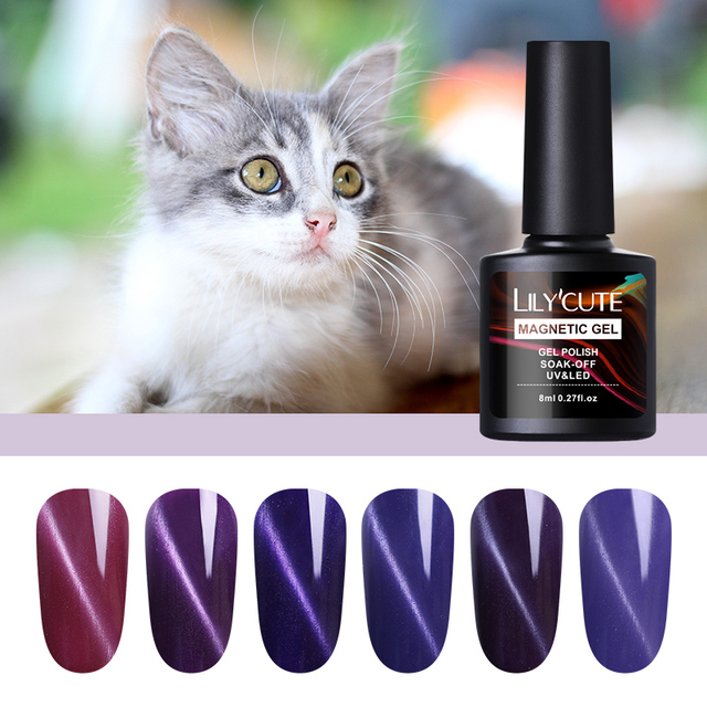 LILYCUTE 8ml Purple Series Cat Eye UV Gel