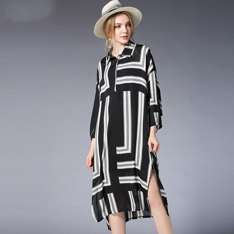 Contraste géométrie chemise robe grande taille femmes manches longues imprimé longues Oversize robes motif XL à 3xl 4xl