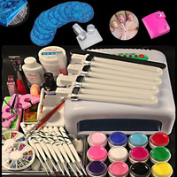 Nail Art Manicure Tools 36W UV Lamp 12 Color 8ml UV Gel With Free Gift 10Pcs