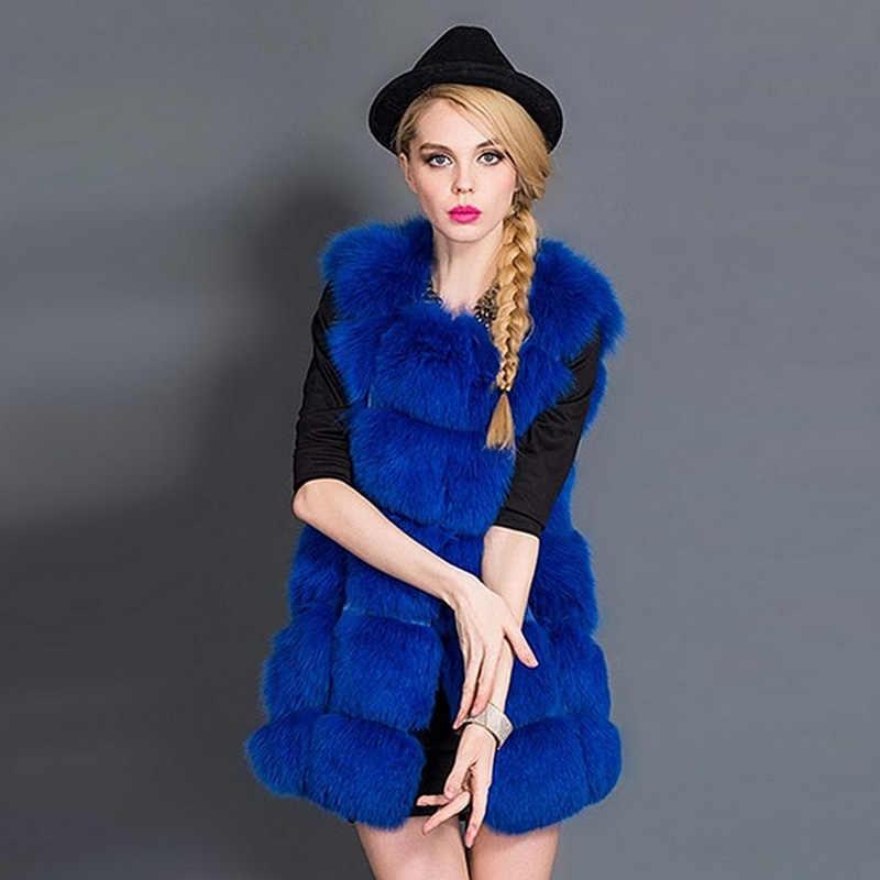 1506f8a19527 Blue Faux Fur Coat Women Winter New 2019 Autumn Sleeveless Vest Fashion  Ladies Fake Fox Fur