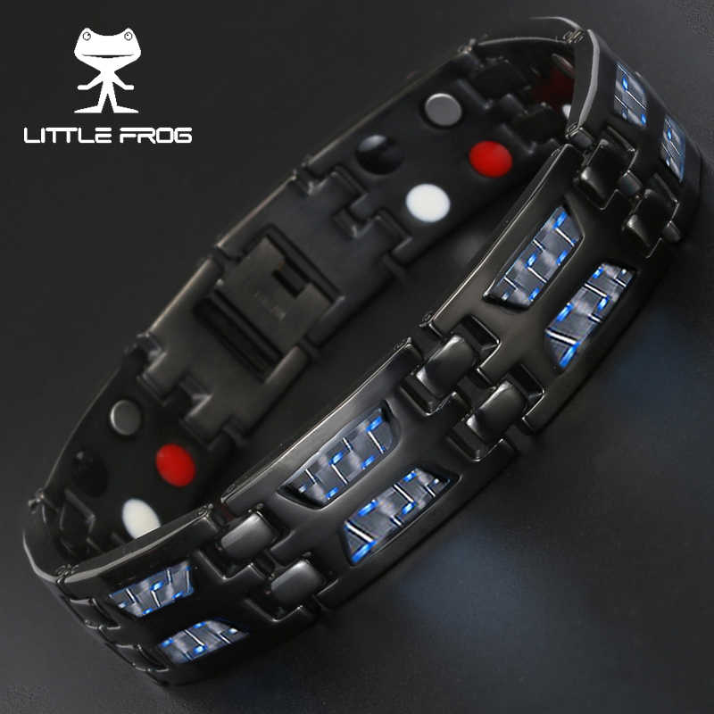 LITTLE FROG Drop Ship 2018 Double Row Negative ion Germanium Blue Bracelet for Man Titanium Carbon Fiber Bracelets Bangles Gift