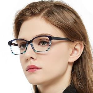 Image 3 - แฟชั่นลาย Clear กรอบแว่นตาผู้หญิง Vintage Presbyopia แว่นสายตาสายตาสั้นกรอบแว่นตา Nerd กล่อง MARE AZZURO AMOS