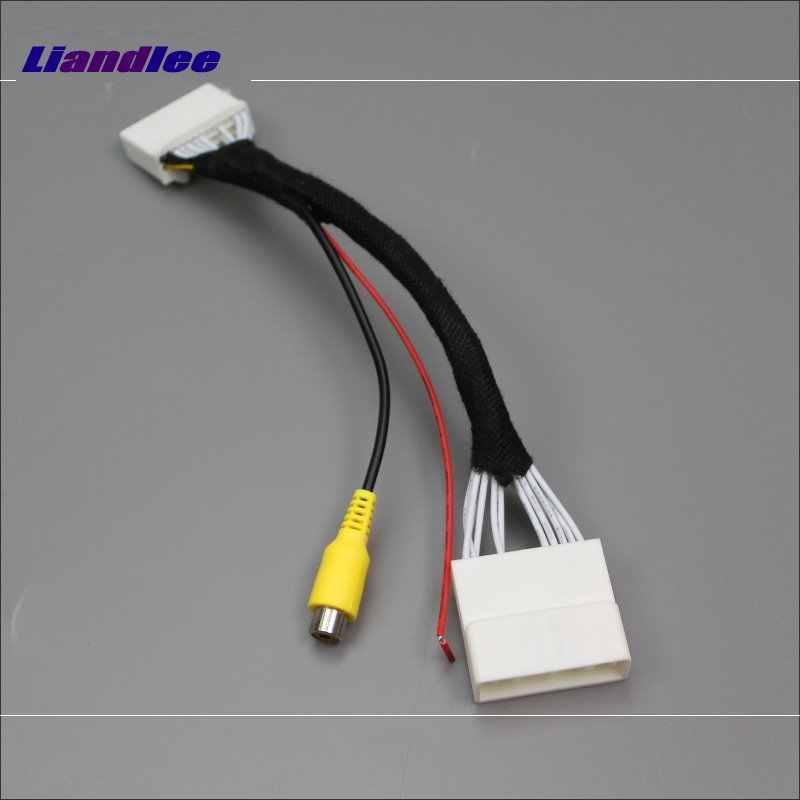 Cable de Cable convertidor de conector del adaptador RCA Liandlee para Mazda 2 Demio DJ 2014 ~ 2017 cámara de visión trasera interruptor de entrada de vídeo Original