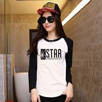 Womens Black White Raglan Long Sleeve The Flash Star Lab Logo Print T Shirt Women Anime