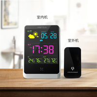 Home Colorful LCD Weather Station Wireless Sensor Digital Weather Forecast Meter In Outdoor Temperature Humidity Snooze
