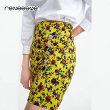 2019 summer women stylish yellow floral print pleated mini skirt dimond buttons decorate side zipper design female A line skirts(China)