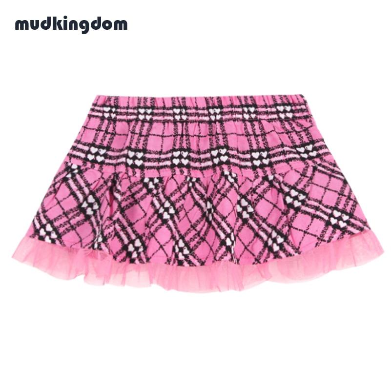 Mudkingdom Newborn Baby Girls Plaid Mini Skirt Girls Summer Cotton Short Pink Lace Skirts Kids Baby Girl School Birthday Clothes