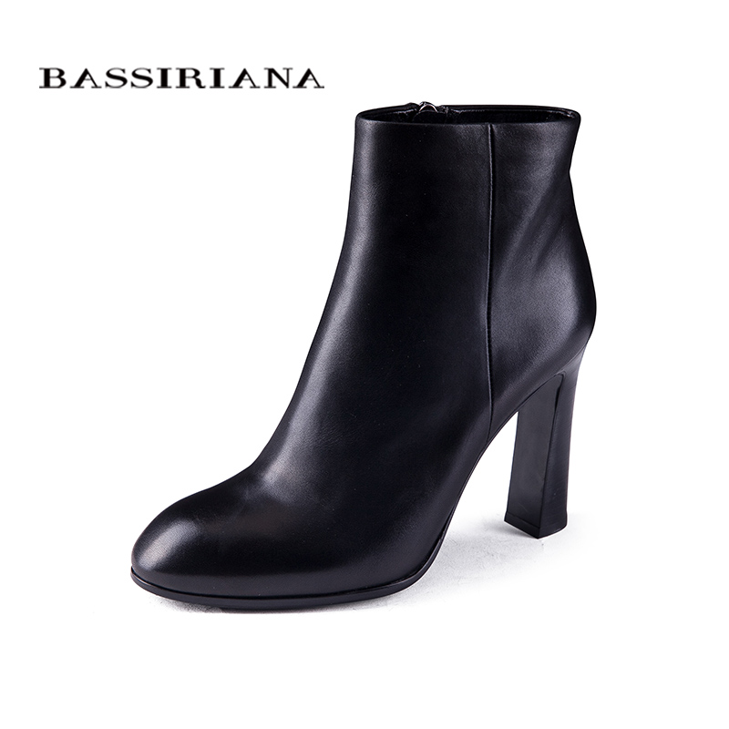 BASSIRIANA womens high heels boots Genuine Full Grain Leather Big size 35-40 High quality brand shoe for woman Free shipping