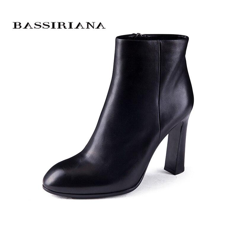 BASSIRIANA womens high heels boots Genuine Full Grain Leather Big size 35 40 High quality brand