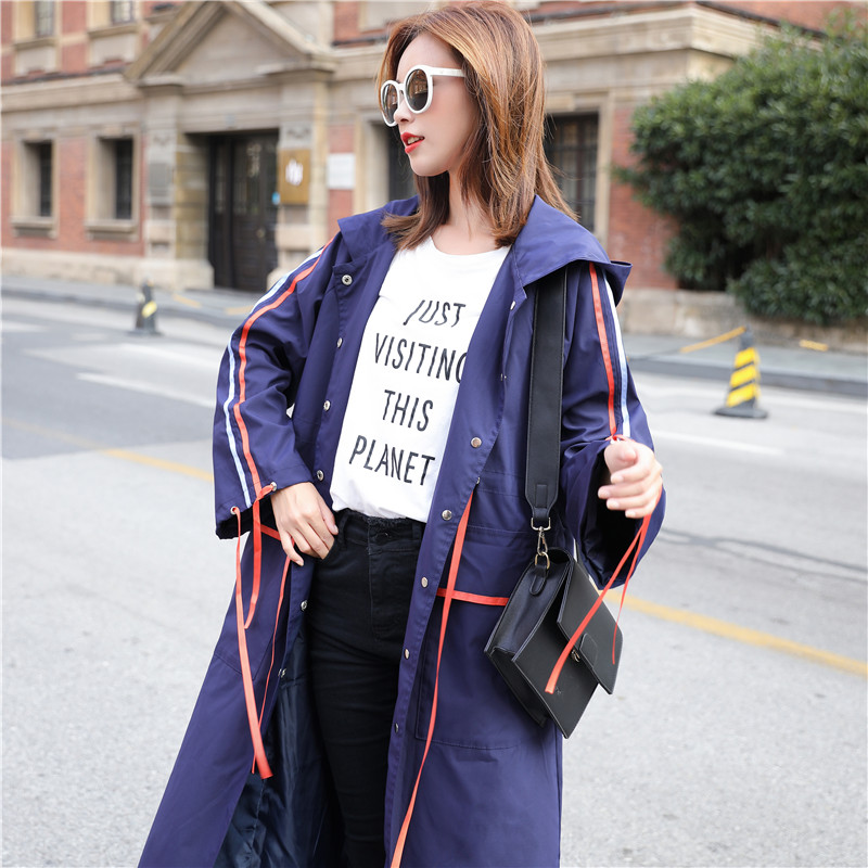 2018 Autumn New Women   Trench   Coat Long Windbreaker Fashion Trend sigle-Breasted Loose Long   Trench   dust coat
