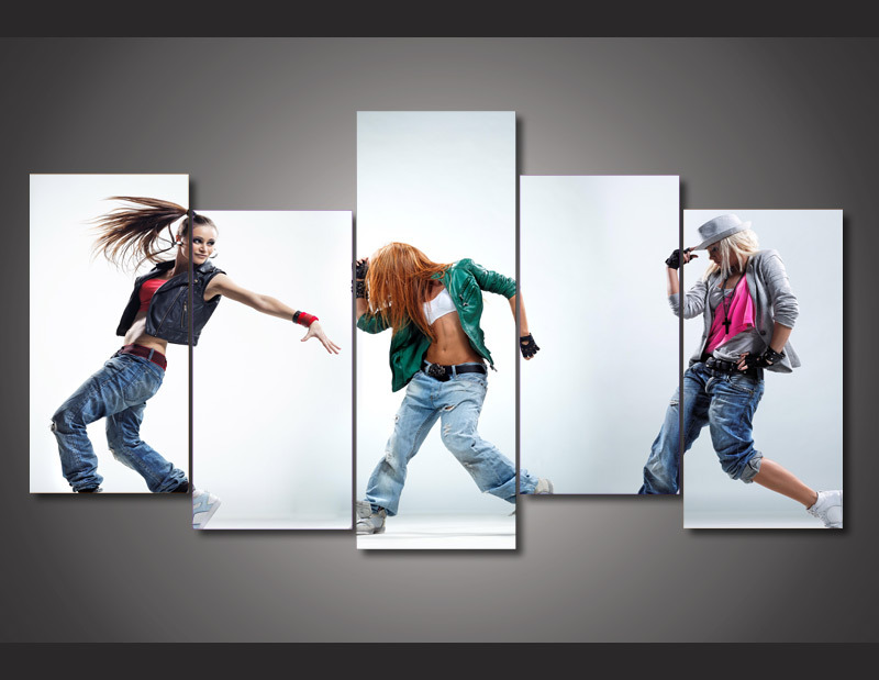5 Piece Unframed HD Printed dance dancing dancer hip hop Painting on canvas room decoration print poster picture For Room