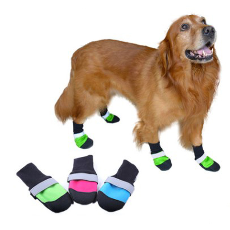 Oxford Waterproof Large Dog Shoes For Golden Retriever Leather Anti-Slip Reflective Pet Dog Boots XS/S/M/L/XL