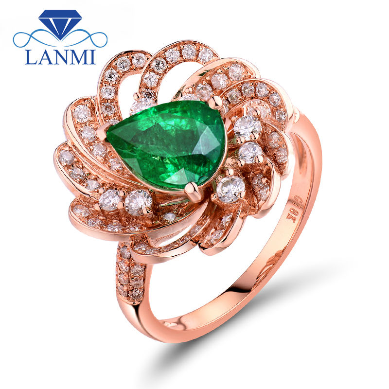 Genuine Natural Colombian Emerald Rings Pear Cut 7X9mm 18Kt Rose