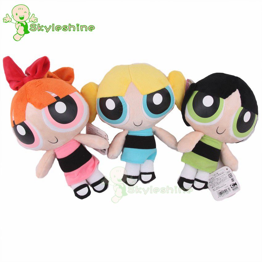 Skyleshine 3pcs/Lot The Powerpuff Girls Bubbles Blossom Buttercup Stuffed Plush Doll Kawaii Toy Birthday Christmas Gift S1284