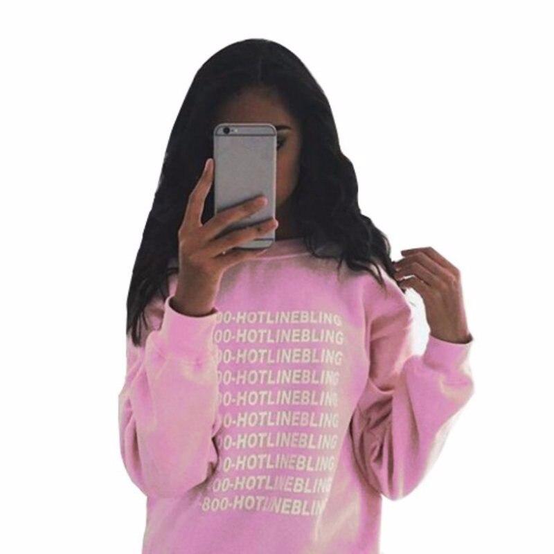 Autumn Fashion Women Pink Fleeced Thick Warm Hoodies Pullovers 800 Hotline Bling Winter Sweatshirts New 4