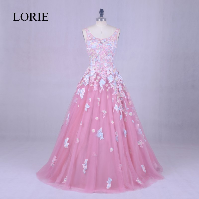 LORIE Floral Long   Evening     Dress   2018 Vintage Lace Scoop Beading Prom   Dresses   For Formal   Dress   Women Party Gowns Floor Length