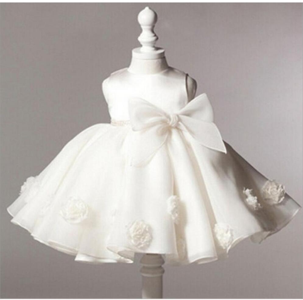 Ball Gown Sleeveless Beige Knee Length   Flower     Girl     Dresses   Pink Blue Kids   Dress   Children   Girls     Dresses   with Bow DQG291
