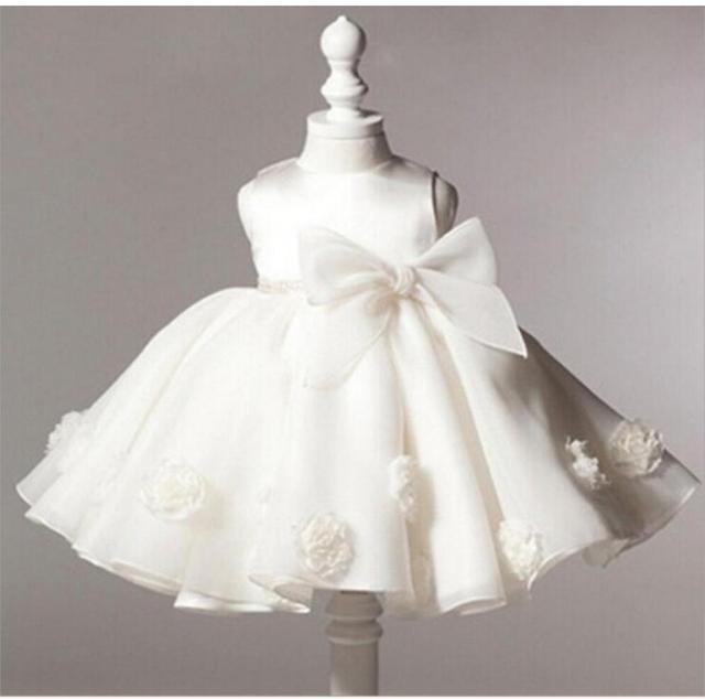9c39aa3008686 Robe de bal sans manches Beige genou longueur fleur fille robes rose bleu enfants  robe enfants
