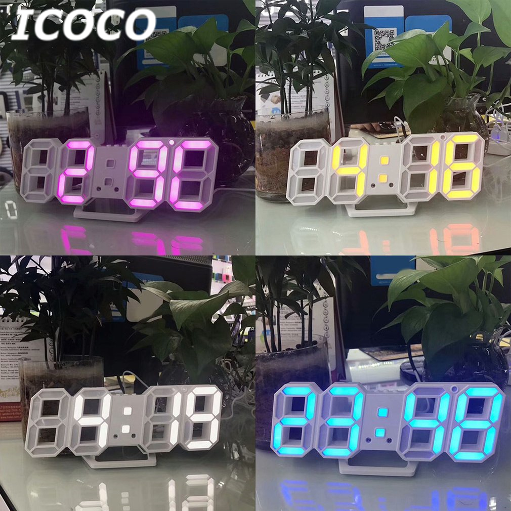 ICOCO 3D Table Clock LED Digital Number Design Show Alarms Temperature Date Countdown Wa ...