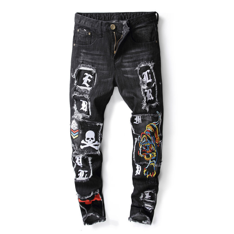 Newsosoo New Fashion Mens Hi Street Ripped Jeans Pants Washed Distressed Denim Trousers For Man With Tiger And Skull Embroidery