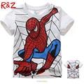 Nuevo 2016 boy camiseta de algodón de manga corta t-shirt de impresión de los niños Del Hombre Araña de dibujos animados gris niños niño niño de ropa