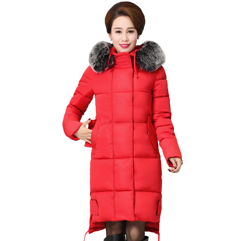 ФОТО  2016 New arrival Jacket Winter Women Thick Parka Big Fur Collar Hooded Cotton-padded  Long Coat Plus Size AA350