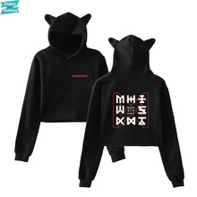 2018 Monster X Kat Oren Cap Korte Sexy Hoodies Dames Vrouwen Sexy Blootgesteld Navel K-Pop Hip Hop Hot sweatshirt(China)